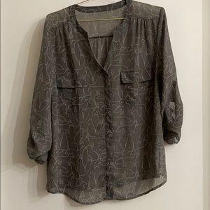 Sheer fox print LOFT blouse